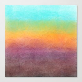 Abstract hand painted aqua pink yellow watercolor ombre Canvas Print