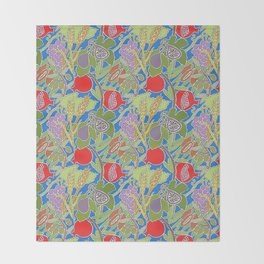 Seven Species Botanical Fruit and Grain with Blue Background Throw Blanket
