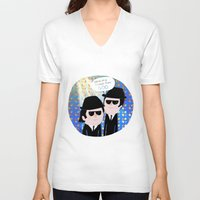 blues brothers V-neck T-shirts featuring The Blues Brothers by my panda suit by la Lena