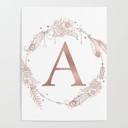 Letter A Rose Gold Pink Initial Monogram Poster
