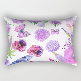 Elegant pink violet watercolor hand painted floral pattern Rectangular Pillow
