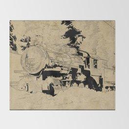 Vintage Steam Train on Postage Stamp Throw Blanket