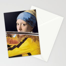 Beatrix Kiddo and Vermeer's Girl with a Pearl Earring Stationery Cards