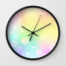 Magical Rainbow Gradient with Watercolor Bubbles Wall Clock