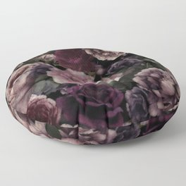 Roses In Burgundy And Pink Vintage Botanical Garden Flowers Floor Pillow