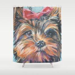 A realistic Yorkshire Terrier Portrait by L.A.Shepard fine art painting Shower Curtain