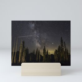 Night Sky over Paradise at Mount Rainier with Shooting Stars Mini Art Print