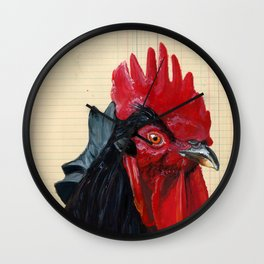 Rooster in Gouache Wall Clock