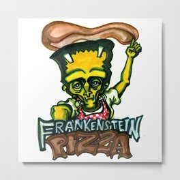 Frankenstein Pizza Metal Print