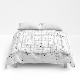 Black and white geometric abstract pattern Comforters