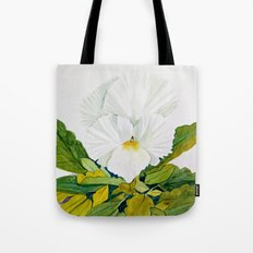 White Pansy Tote Bag
