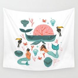 Mermaids summer Wall Tapestry