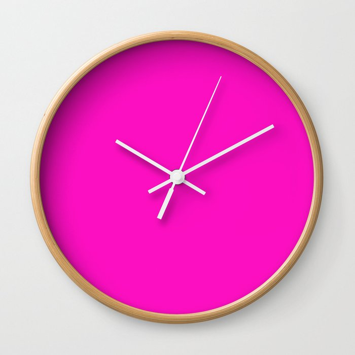 Shocking Pink Solid Color Wall Clock