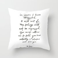 pride and prejudice Throw Pillows featuring Pride & Prejudice by Cécile Pellerin