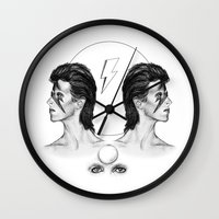 bowie Wall Clocks featuring Bowie  by Tate Eknaian