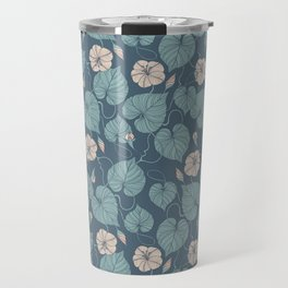 Dark Green Flowers Travel Mug
