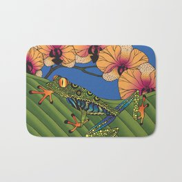 Tree Frog with Orchids Bath Mat
