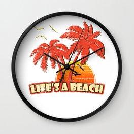 Life's A Beach Vintage Sunset Wall Clock