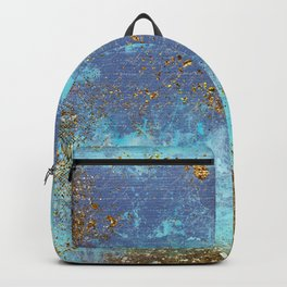 Gold Faux Glitter and Blue Mermaid Sea Foam Backpack