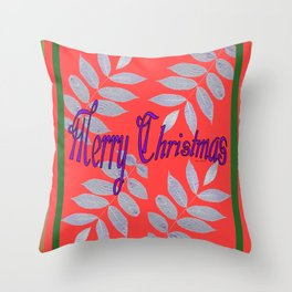 MERRY CHRISTMAS WITH WHITE LEAVES Greeting Illustration Throw Pillow