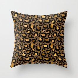 Leopard Metal Glamour Skin Throw Pillow