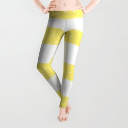 Christmas Simple seamless pattern Snow confetti on White and Yellow Buttercup Stripes Background Leggings