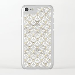 marble and gold art deco scales pattern Clear iPhone Case