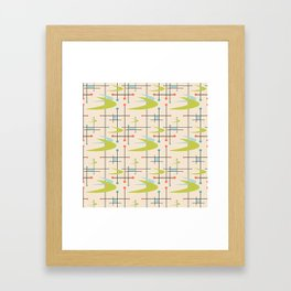 Mid Century Modern in Lime and Blush Framed Art Print