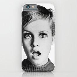 Twiggy, Retro Fashion Icon, Vintage Black and White Art iPhone Case