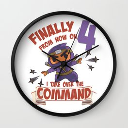 Kids clothes, Ninja for 4th birthday 4 years old Wall Clock