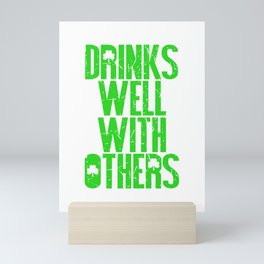 Funny Drinks Well With Others St Patricks Day Clover graphic Mini Art Print