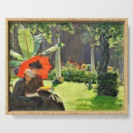 Charles Courtney Curran - Afternoon In The Cluny Garden, Paris - Digital Remastered Edition Serving Tray