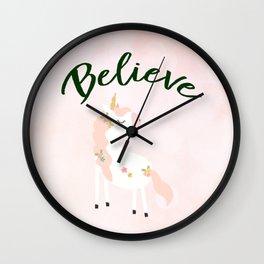 Believe Unicorn Subtle Pink Bokeh Dream Wall Clock