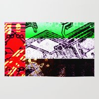 arab Area & Throw Rugs featuring circuit board united arab emirates (flag) by seb mcnulty