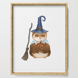 Owl in witch magical hat with broom stick and carved pumpkin lantern for Halloween Serving Tray