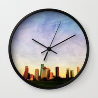 houston Wall Clocks featuring Houston Skyline by Tracy Carlson Photography