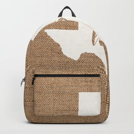 Texas is Home - White on Burlap Backpack