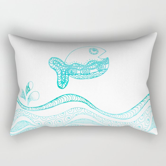 Doodle fish jumping out of the water Maritime Rectangular Pillow