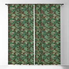 Small Military Army Green and Khaki Brown Camo Camouflage Print Blackout Curtain