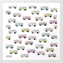 Happy Camper Van Bus pink traveling hippie boho girls summer pattern design print Art Print