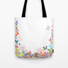 Floral frame with butterflies Tote Bag