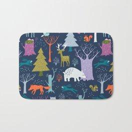 winter woodland animals Bath Mat