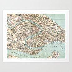 Vintage Venice Map Art Print
