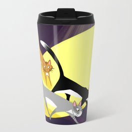 Three Kitties On The Move At Night Travel Mug