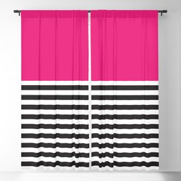 Hot Pink Magenta and Black and White Stripe Blackout Curtain