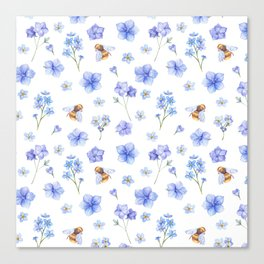 Elegant lavender brown watercolor honey bee floral Canvas Print