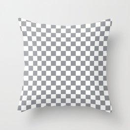Grey Checkerboard Pattern Throw Pillow