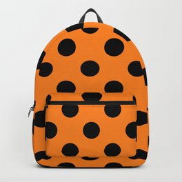 Halloween Black Orange Polka Dot Backpack