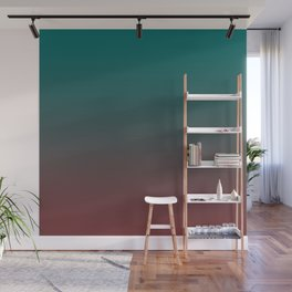 Ombre Quetzal Green Dark Red Pear Gradient Pattern Wall Mural