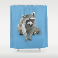 racoon Shower Curtains featuring Racoon. by Diana D'Achille
